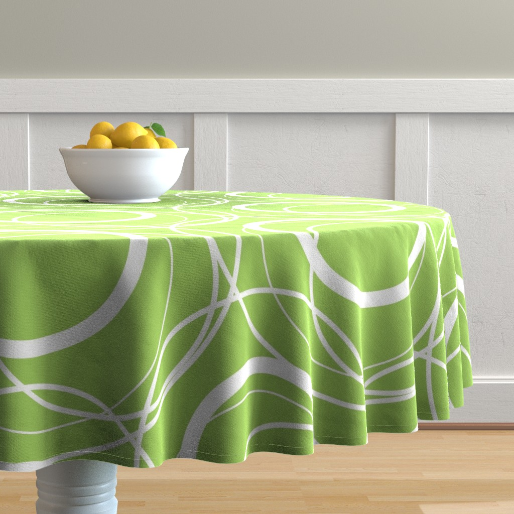 Malay Round Tablecloth featuring Swirly Whirly Random Circles -green by creativeinchi