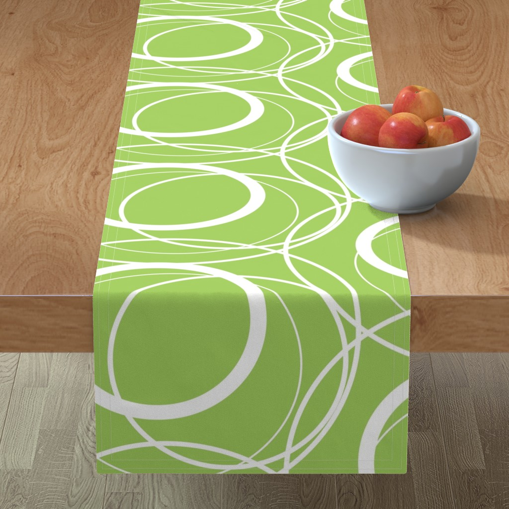 Minorca Table Runner featuring Swirly Whirly Random Circles -green by creativeinchi