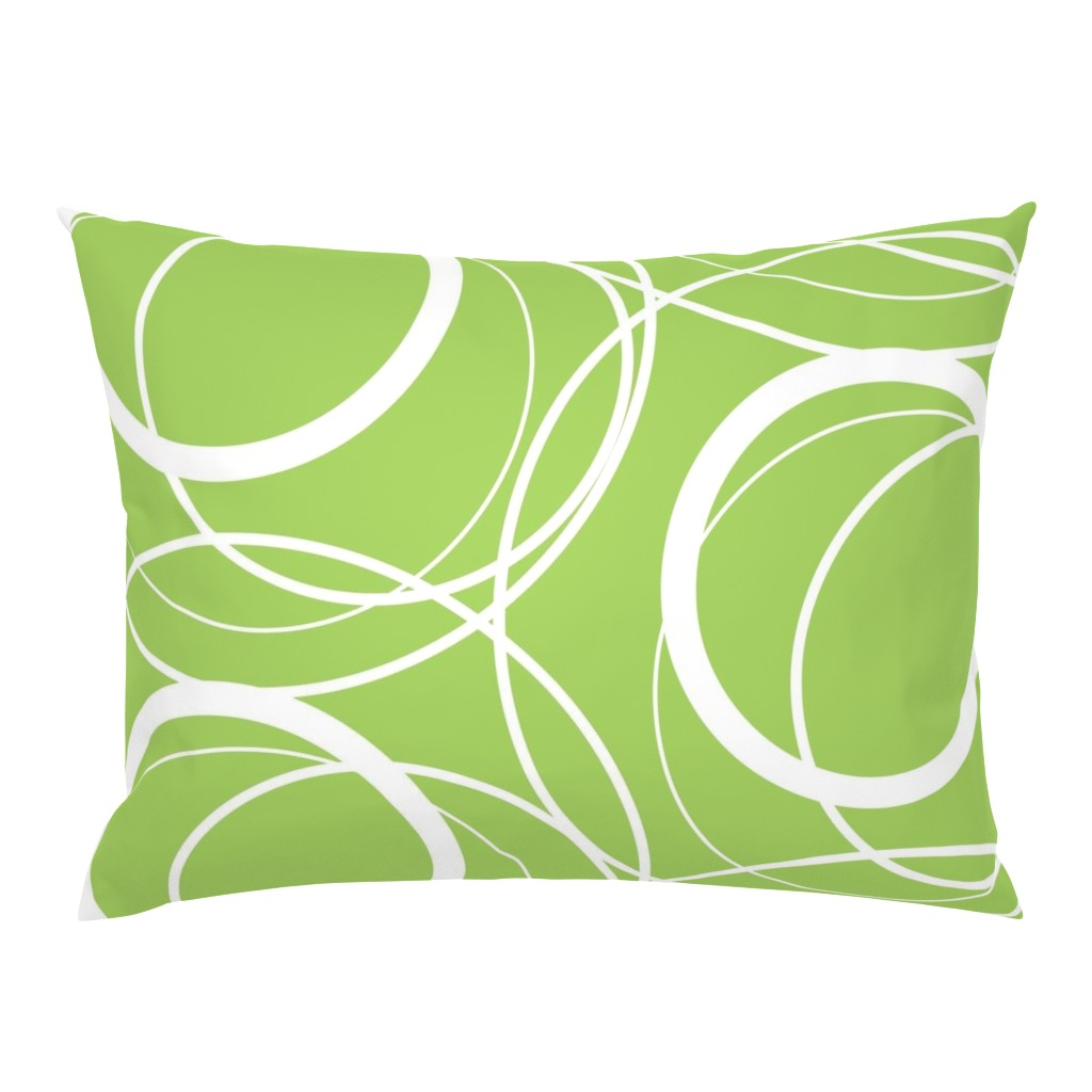 Campine Pillow Sham featuring Swirly Whirly Random Circles -green by creativeinchi