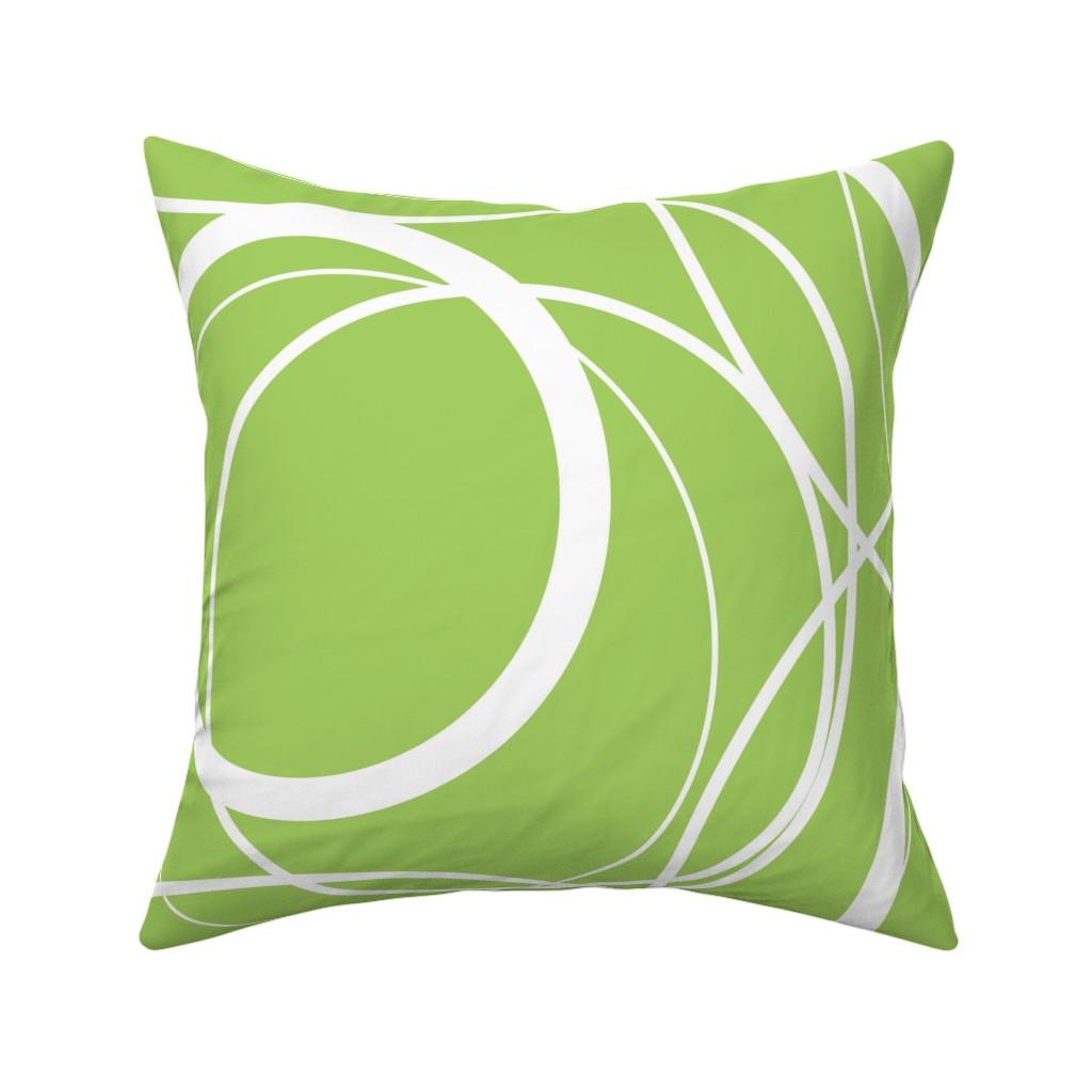 Catalan Throw Pillow featuring Swirly Whirly Random Circles -green by creativeinchi