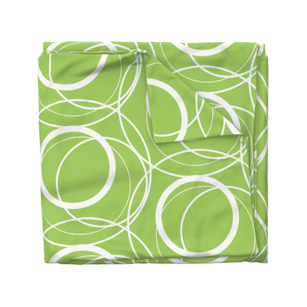 Wyandotte Duvet Cover featuring Swirly Whirly Random Circles -green by creativeinchi