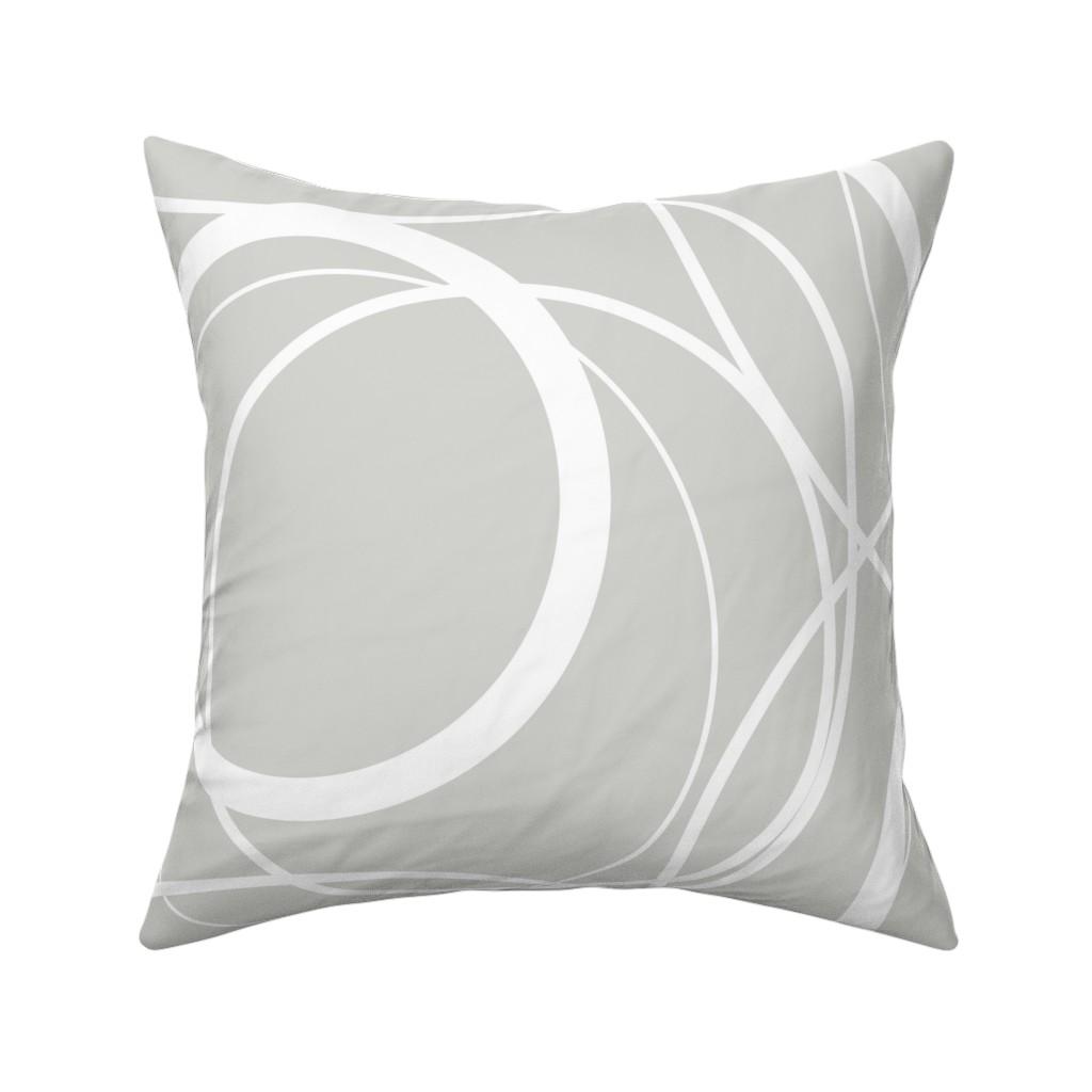 Catalan Throw Pillow featuring Swirly Whirly Random Circles -grey by creativeinchi