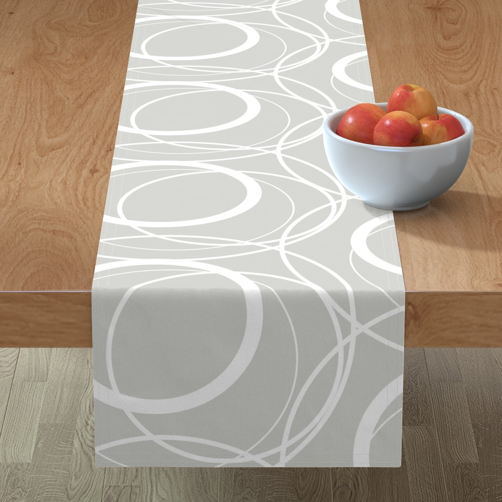 Minorca Table Runner featuring Swirly Whirly Random Circles -grey by creativeinchi