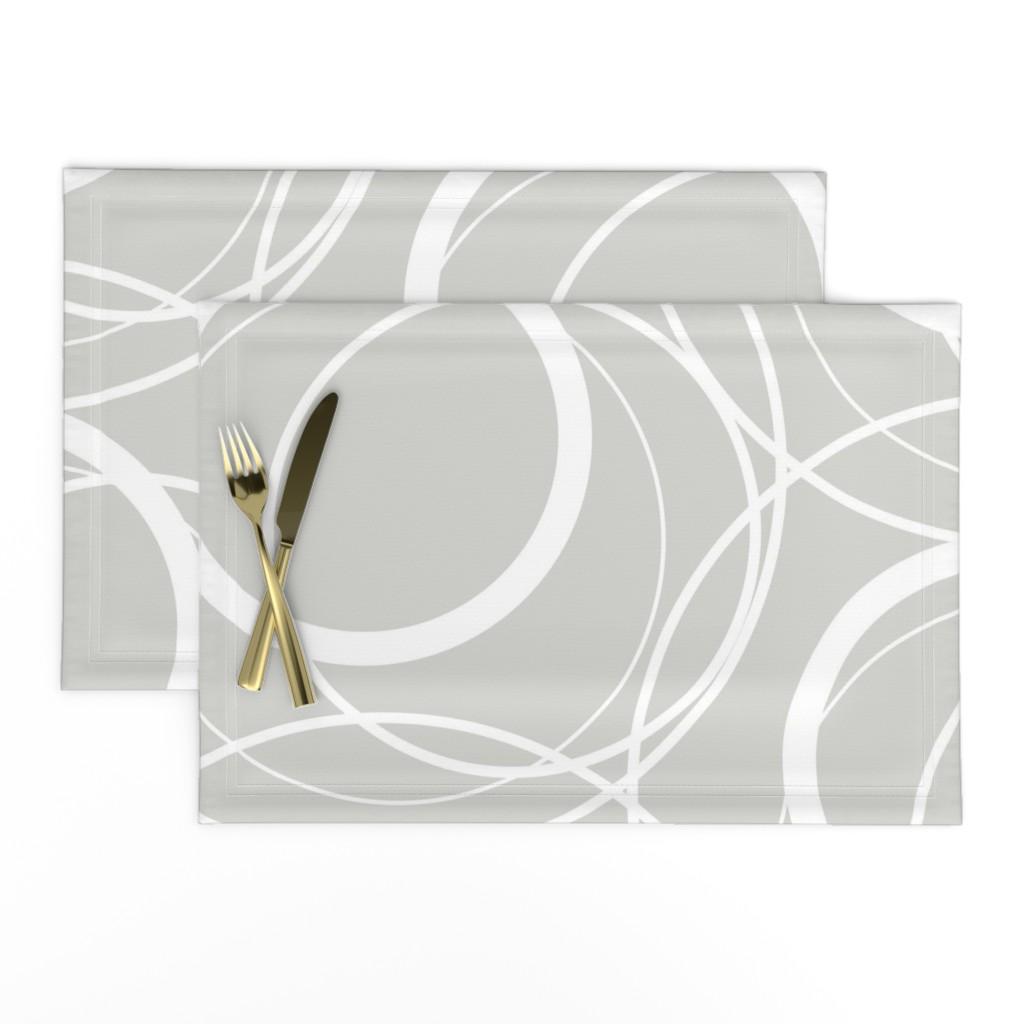 Lamona Cloth Placemats featuring Swirly Whirly Random Circles -grey by creativeinchi