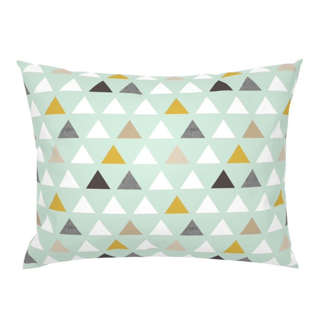 Campine Pillow Sham featuring mod mint triangles by mrshervi