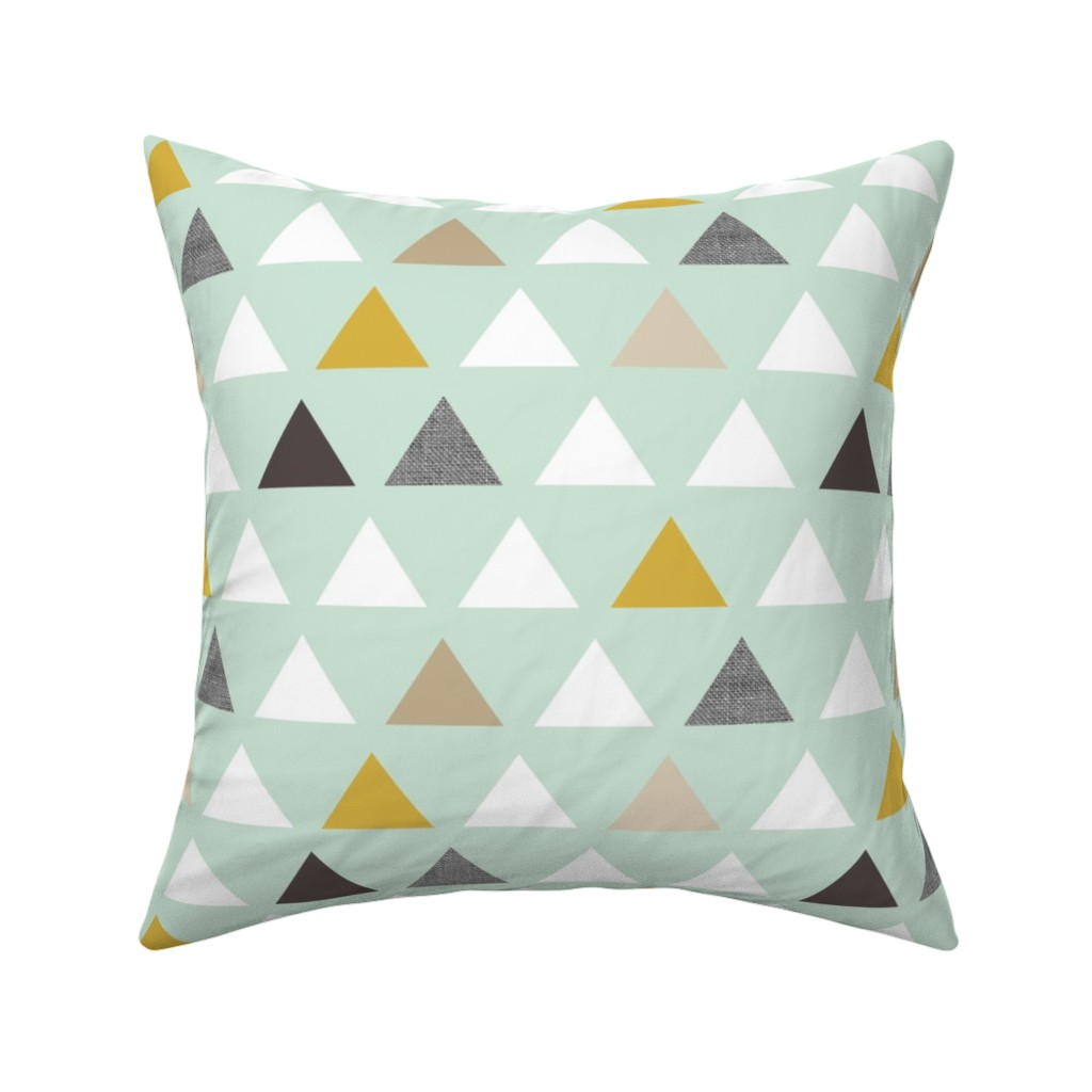 Catalan Throw Pillow featuring mod mint triangles by mrshervi