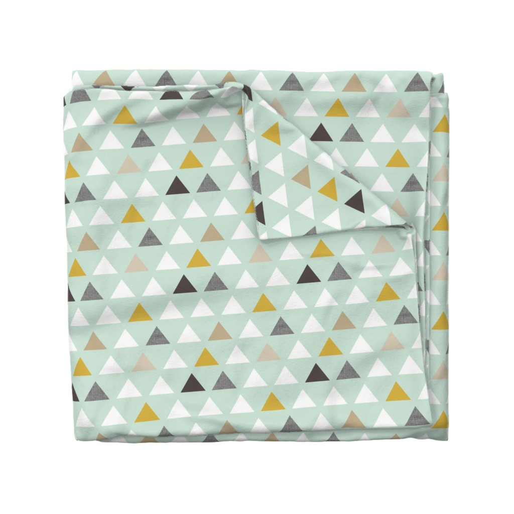 Wyandotte Duvet Cover featuring mod mint triangles by mrshervi