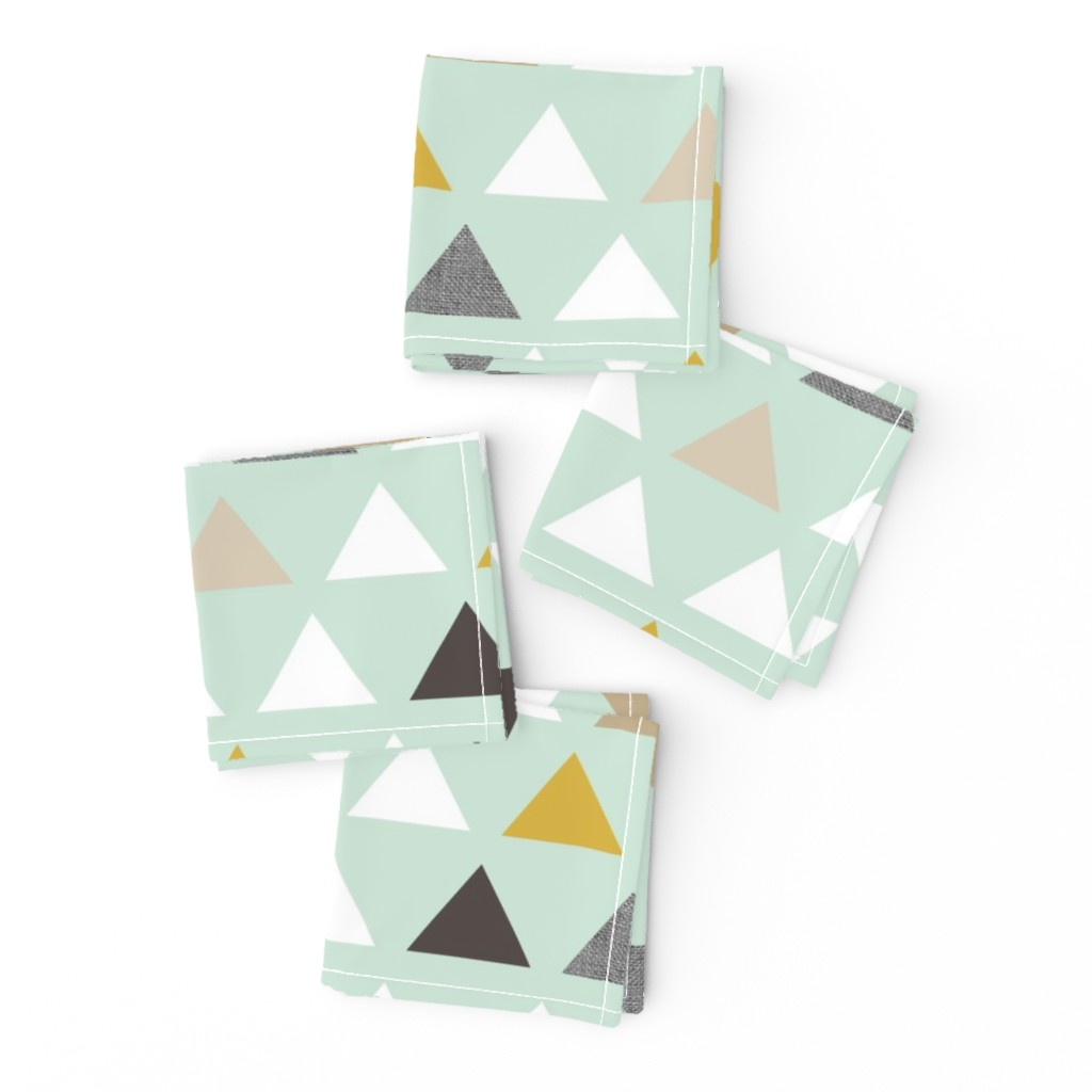 Frizzle Cocktail Napkins featuring mod mint triangles by mrshervi