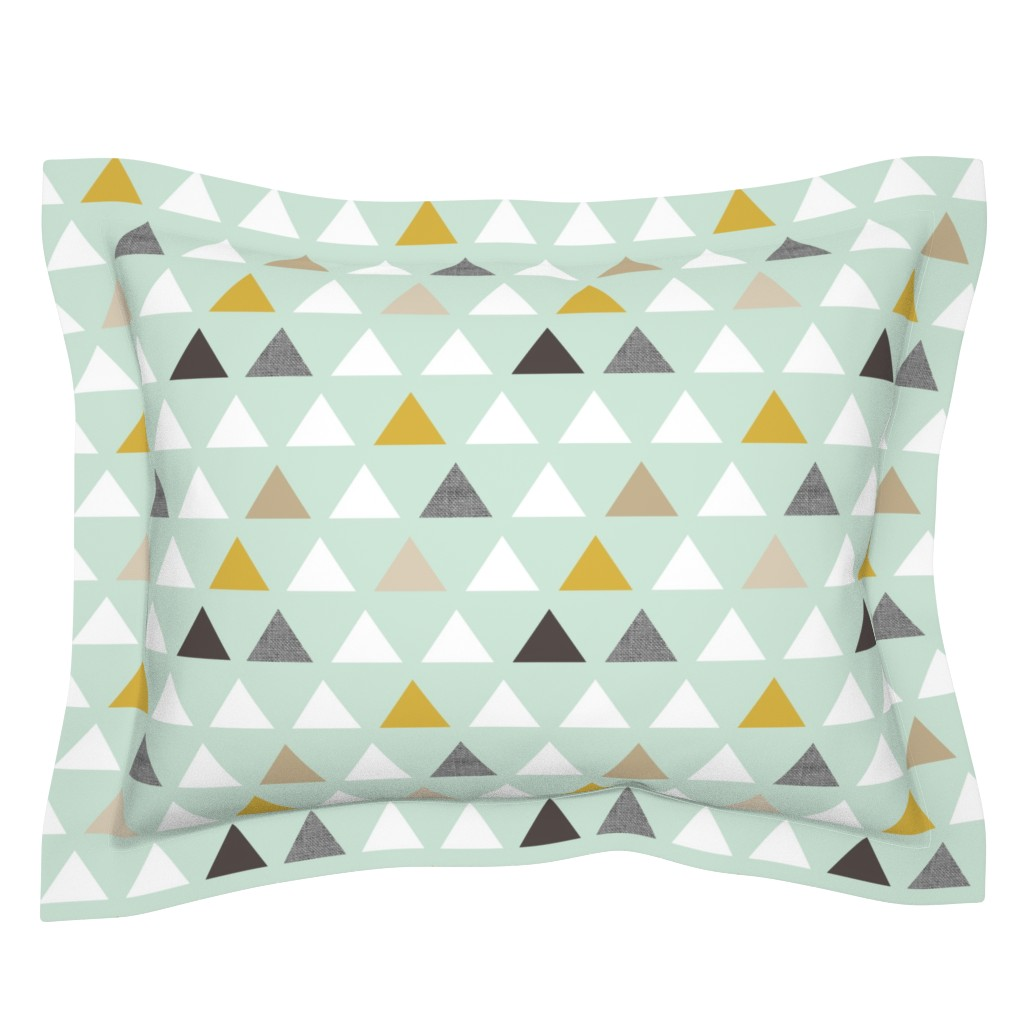 Sebright Pillow Sham featuring mod mint triangles by mrshervi