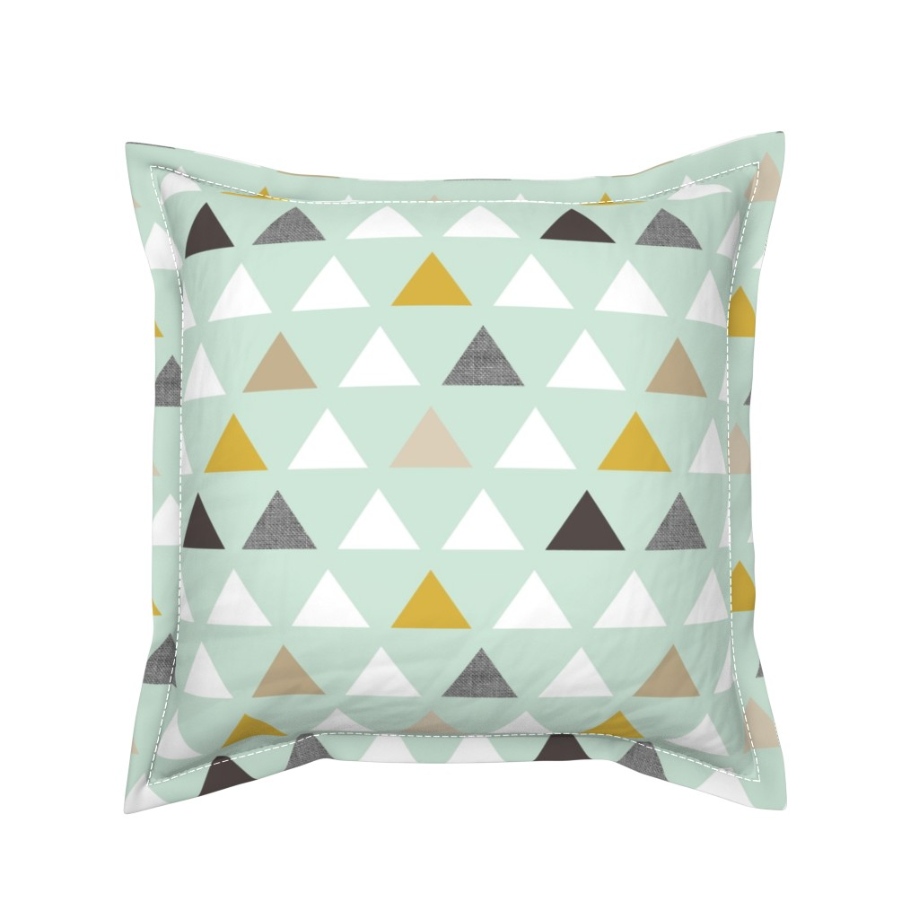 Serama Throw Pillow featuring mod mint triangles by mrshervi