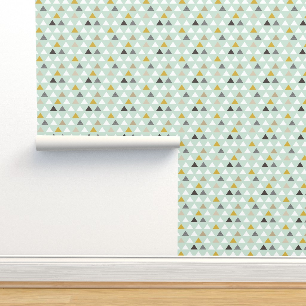 Isobar Durable Wallpaper featuring mod mint triangles by mrshervi