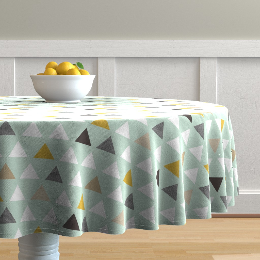 Malay Round Tablecloth featuring mod mint triangles by mrshervi