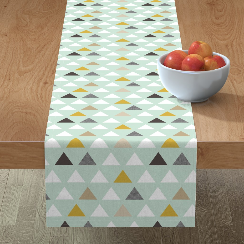 Minorca Table Runner featuring mod mint triangles by mrshervi