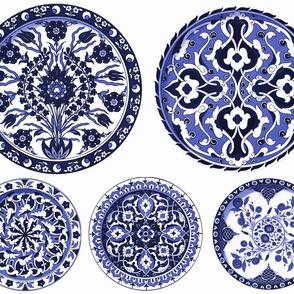 Blue & White China Plates