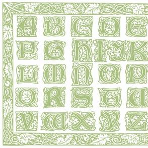 William Morris Alphabet Block Cheater Quilt ~ Sage & White