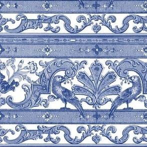 Parrot Damask ~ Border Strip ~ Willow Ware Blue & White
