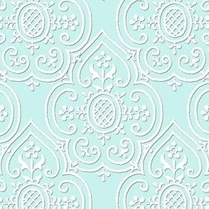 Lace Medallion ~ Robin's Egg Blue and White