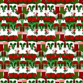 Victorian Christmas Dresses Collage Fabric #1