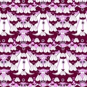 Victorian Burgundy Dresses Collage Fabric