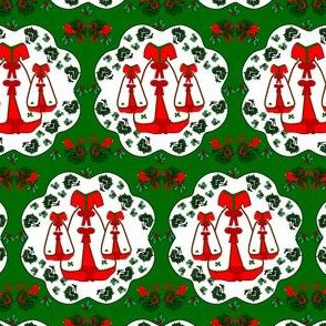 Victorian Red and White Christmas Dress Fabric