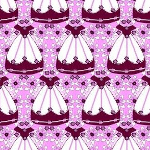 Victorian Burgundy and White Dress Fabric