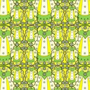 Victorian Lime Green Long Dress Fabric