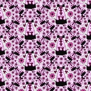 Victorian Black and Pink Dress Fabric #2