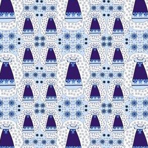 Victorian Blue Dresses Fabric #2