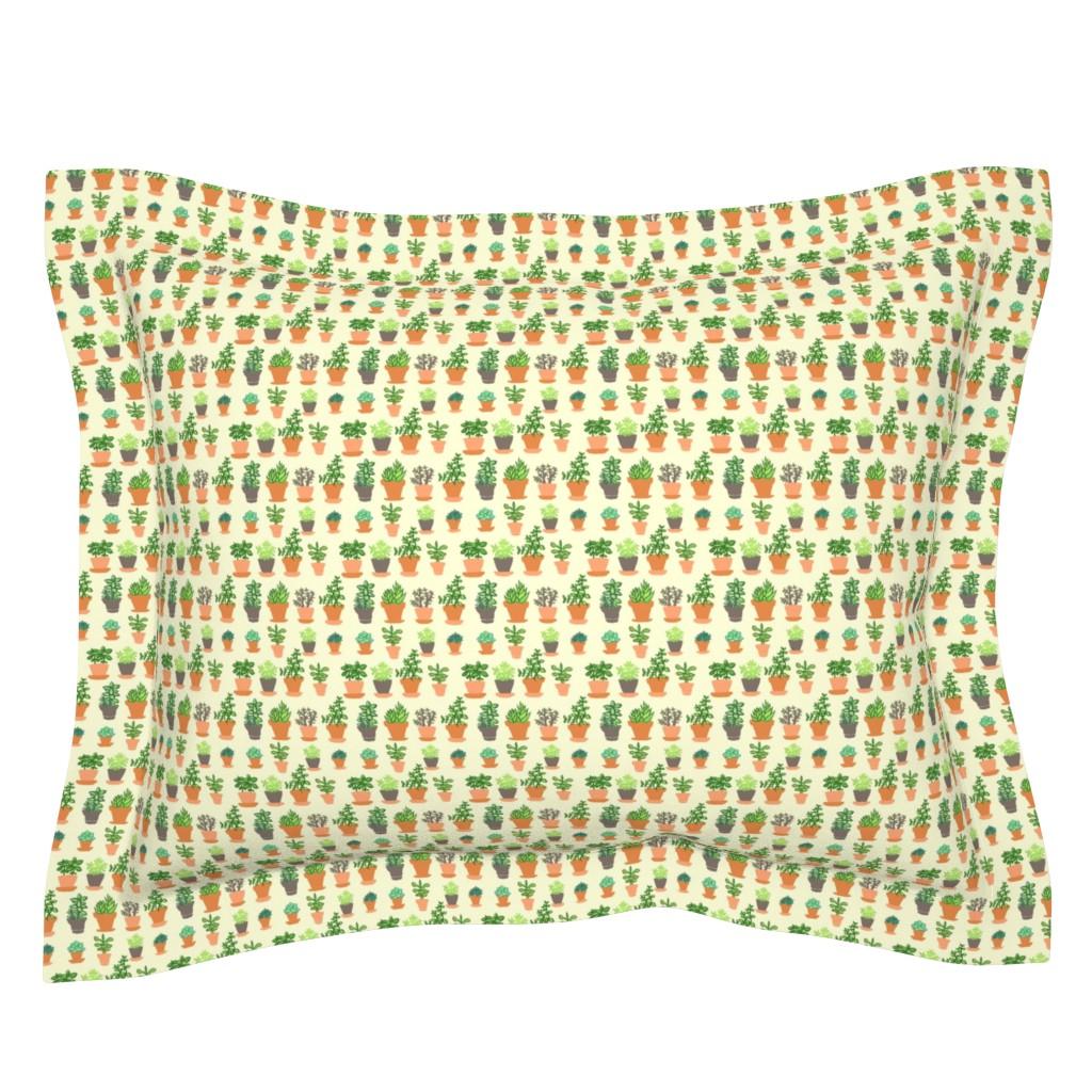 Sebright Pillow Sham featuring Windowsill Garden SM by hugandkiss
