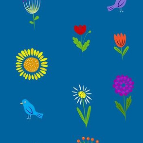 Bright flowers on blue