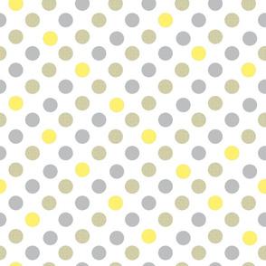 Polka Dot Charm yellow and gray