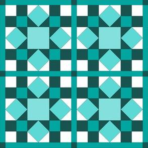 I Spy Dolly Windows -  Aqua & Teal Mini Quilt