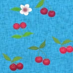 Cherry and blossom //  blue linen // garden Linen