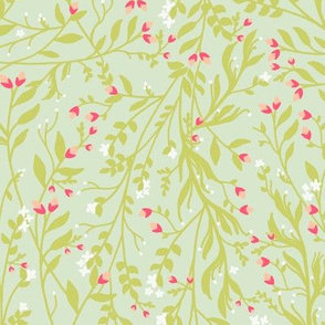Regency Floral in Coral and Green
