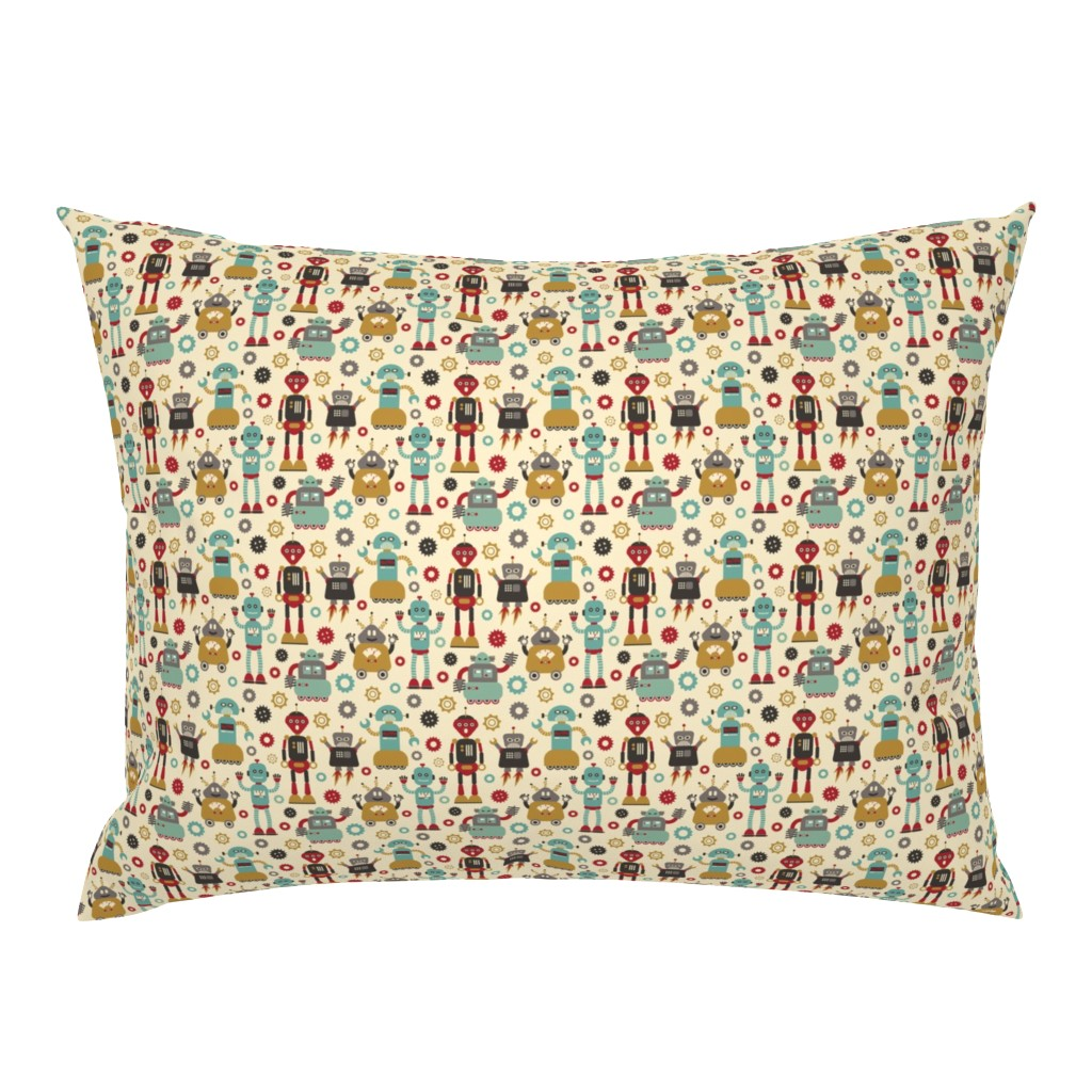 Campine Pillow Sham featuring Retro Robots on Cream  by cynthia_arre