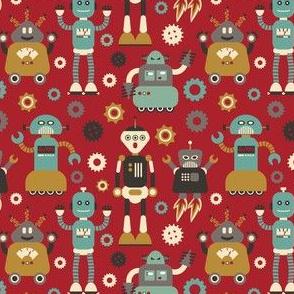Retro Robots on Red