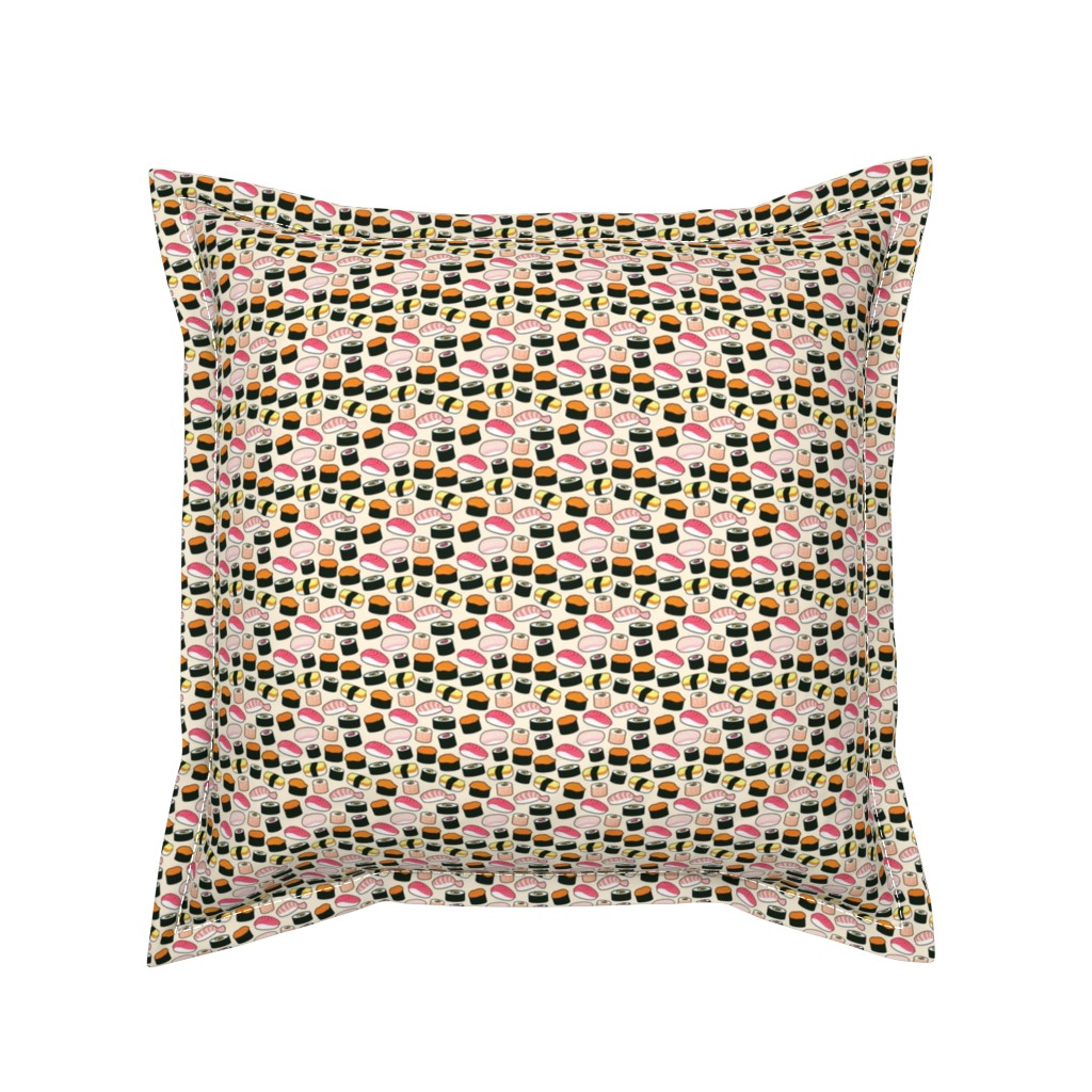 Serama Throw Pillow featuring Sushi Party by cynthia_arre