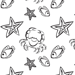 Starfishes, crabs and fishes