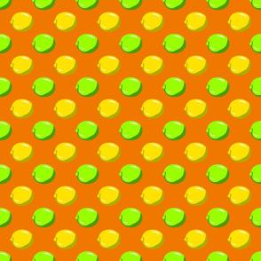 Lemon Lime Dots on orange