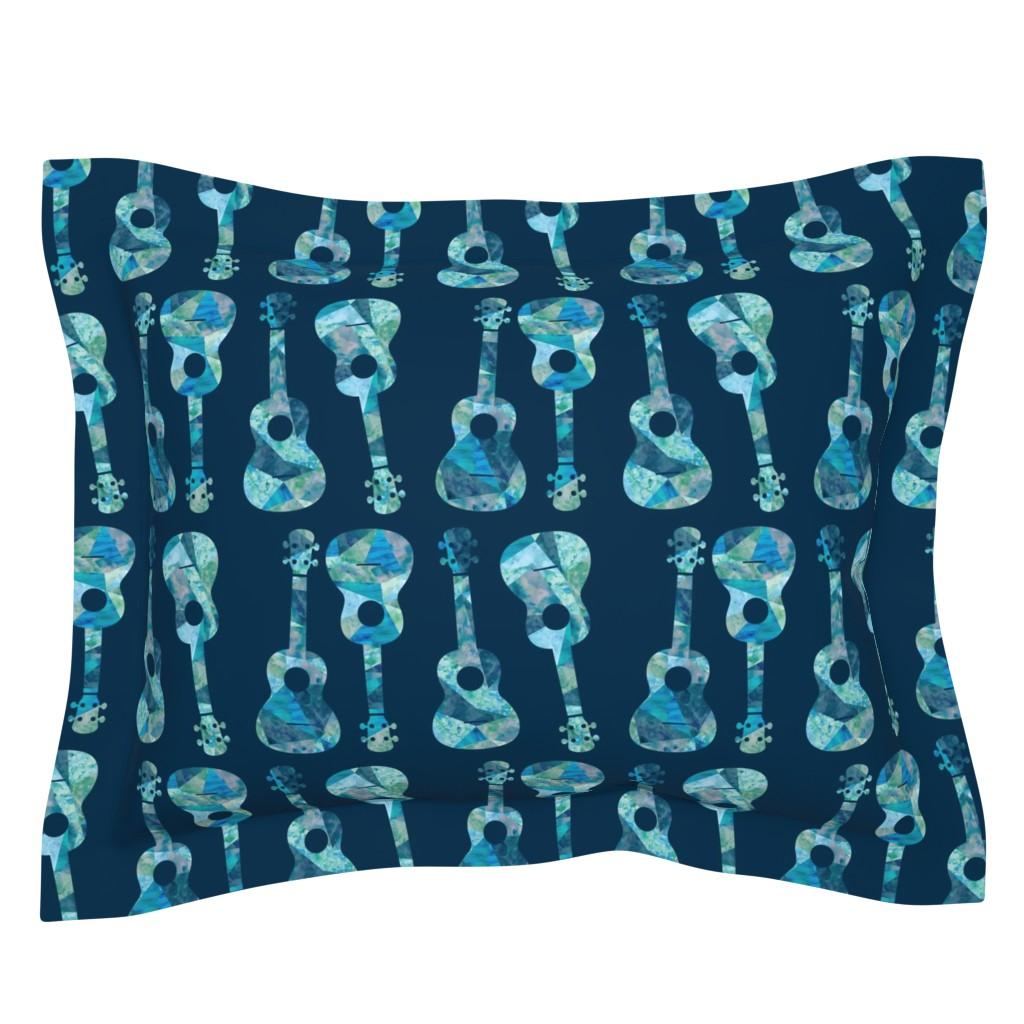 Sebright Pillow Sham featuring Ukulele Watercolor - Blue by owlandchickadee
