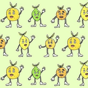 Funny Fancy Citrus Fruits | Green Background
