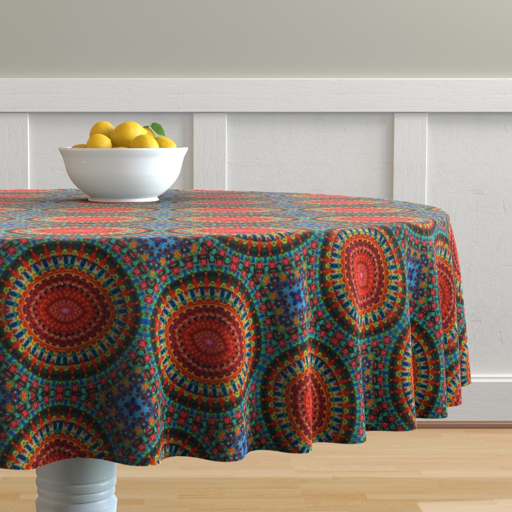 Malay Round Tablecloth featuring Neotia by loriwierdesigns