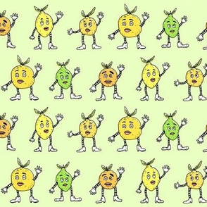 Funny Fancy Citrus Fruits | Green Background | Small