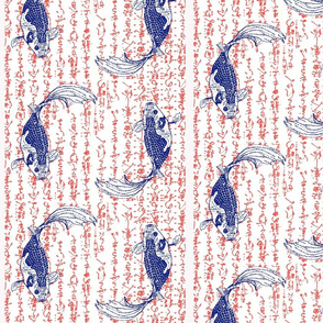 Koi on kanji red white and blue