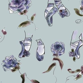 Slippers and Roses Aubergine by Rosanna Hope