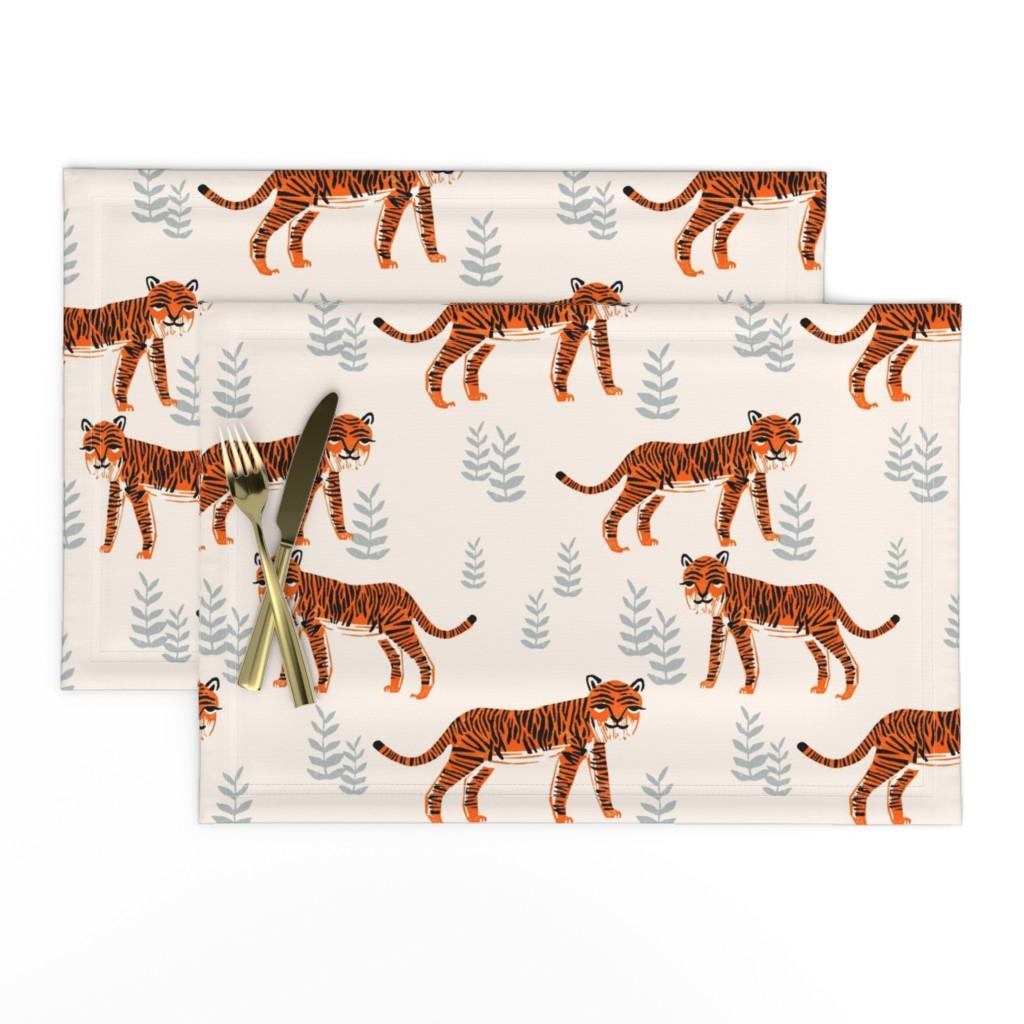 Lamona Cloth Placemats featuring Safari Tiger - Cadmium Orange/Slate Grey/Champagne by Andrea Lauren by andrea_lauren