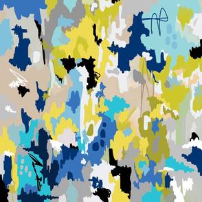 blue watercolor ikat