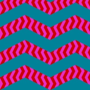 mad chevrons - pink and red on teal