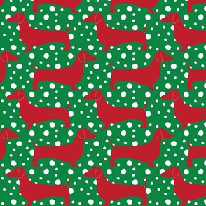 Christmas Dachshunds (Red & Green)