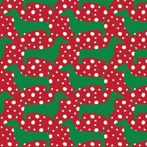 Christmas Dachshunds (Green & Red)